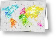 World Map Painting On Brick Wall Greeting Card by Setsiri Silapasuwanchai