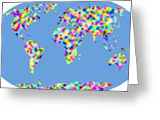 World Map Palette Greeting Card