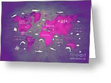 World Map Pink Greeting Card