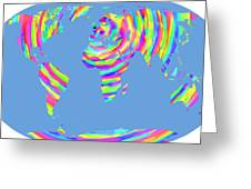World Map Radial Eurocentric Greeting Card