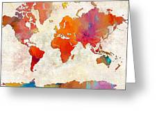 World Map - Rainbow Passion - Abstract - Digital Painting 2 Greeting Card