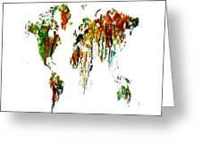World Map Running Paint 01 Greeting Card