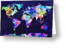 World Map Urban Watercolor Greeting Card by Michael Tompsett