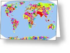 World Map Viscous Greeting Card