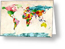 World Map Watercolors Greeting Card