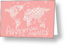 World Map White Flowers Pink Greeting Card