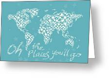 World Map White Star Turquoise Greeting Card