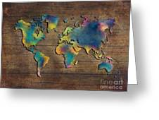World Map Wood Greeting Card