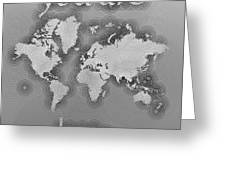 World Map Zona You Are Here In Black And White Greeting Card
