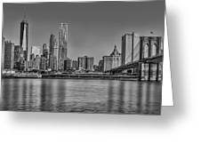 World Trade Center And The Brooklyn Bridge Bw Greeting Card