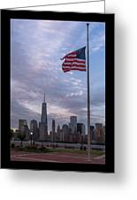 World Trade Center Freedom Tower New York City American Flag Greeting Card