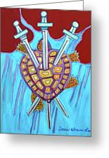 World Turtle Three Of Swords Greeting Card