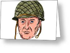 World War Two American Soldier Head Drawing Greeting Card