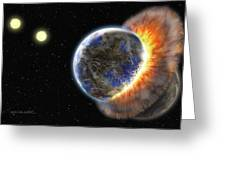 Worlds In Collision Greeting Card by Lynette Cook