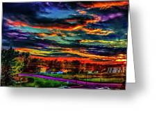 World's Most Psychedelic Autumn Sunsset Greeting Card