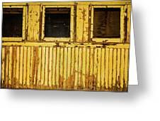 Worn Yellow Passanger Car Greeting Card