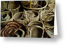 Woven Baskets For Sale At A Market Greeting Card