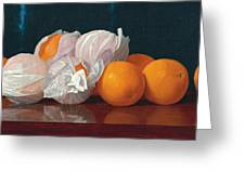 Wrapped Oranges On A Tabletop Greeting Card