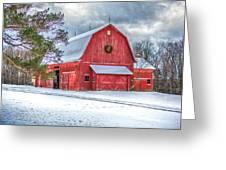 Wreath On A Barn Greeting Card