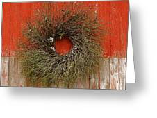 Wreath On The Barn Greeting Card