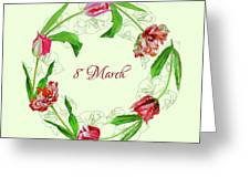 Wreath With Tulips Greeting Card