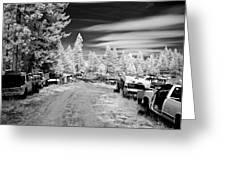 Wrecking Yard In Infrared 3 Greeting Card