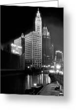 Wrigley And Tribune Buildings Greeting Card
