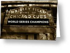 Wrigley Field Sign - Vintage Greeting Card