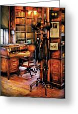 Writer - A Hard Day At Work Greeting Card by Mike Savad