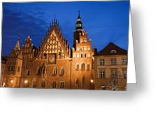 Wroclaw Old Town Hall At Night Greeting Card