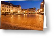 Wroclaw Old Town Market Square At Night Greeting Card