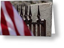 Wrought Iron And American Flag Greeting Card
