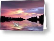 Sunset Swans Greeting Card