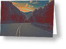 Wynding Road In Between Trees Greeting Card