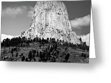 Wyoming Devils Tower National Monument With Climbers Bw Greeting Card