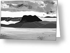 Wyoming Landscape 3 - B-w Greeting Card