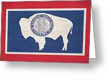 Wyoming Rustic Flag On Wood Greeting Card