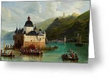 Xixth Century French School Pfalzgrafenstein Castle Greeting Card