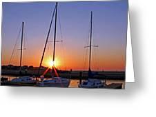 Yacht Club Sunrise Greeting Card