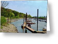 Yacht Harbor On The River. Film Effect Greeting Card