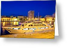 Yacht In Zadar Harbor Evening View Greeting Card