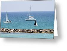 yacht sailing in the Mediterranean sea Greeting Card