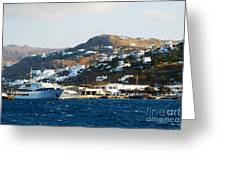 Yachts Docked At Port Skala Greece On Patmos Island Greeting Card