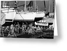 Yachts On Drydock Greeting Card