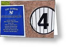 Yankee Legends Number 4 Greeting Card