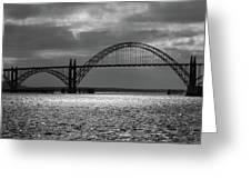 Yaquina Bay Bridge Black And White Greeting Card