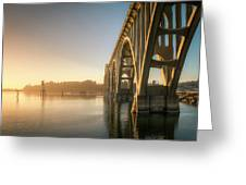 Yaquina Bay Bridge - Golden Light 0634 Greeting Card