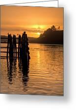 Yaquina Bay Sunset - Vertical Greeting Card