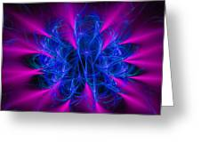 Yarn In Space - Fractal Art Blue And Pink Greeting Card