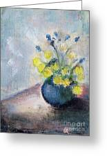 Yello Flowers In Blue Vaze Greeting Card